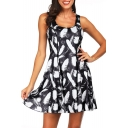 3D Black Feather Blue Galaxy Printed Scoop Neck Reversible Mini A-Line Tank Dress