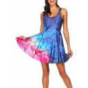 Cool 3D Blue Galaxy Printed Scoop Neck Sleeveless Reversible Mini A-Line Dress