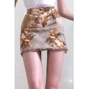 Fashion Angel Baby Printed Mini Sexy Bodycon Brown Skirt