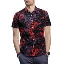 New Creative Pattern Men's Summer Fitted Short Sleeve Maroon Shirt