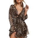 Women's Sexy V-Neck Fashion Leopard Printed Flared Sleeve Mini A-Line Dress