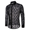 Men's Trendy Night Club Fashion Sexy See-Through Lace Slim Fitted Silk Party Shirt
