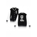 Cartoon Car Printed Rib Stand-Collar Long Sleeve Casual Button-Front Baseball Jacket