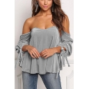 Sexy Plain Off the Shoulder Sweetheart Neck Blouson Long Sleeves Bow Tie Cuffs Loose Blouse