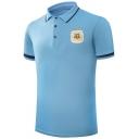 Simple Letter Logo Chest Contrast Trim Rib Collar Short Sleeve Three-Button Sky Blue Polo Shirt