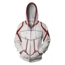 Trendy 3D Colorblocked Long Sleeve Cosplay Costume Zip Up Hoodie