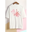 Summer New Fashion Letter Floral Printed Round Neck Dropped Shoulder Loose Relaxed T-Shirt