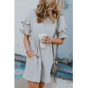 New Fashion Ruffled Short Sleeve Round Neck Simple Plain Mini Grey T-Shirt Dress