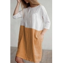 Trendy Colorblock Patched Round Neck Three-Quarter Sleeve Midi Linen Shift Dress