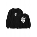 American Music Producer and DJ Cute Smile Face Heart Letter BE MINE Basic Round Neck Long Sleeve Loose Casual Sweatshirt