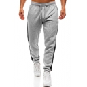 New Fashion Patched Side Drawstring Waist Gathered Cuff Sporty Sweatpants for Men