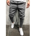 Mens Fashion Drawstring Waist Stripe Printed Skinny Sports Trousers Dress Suit Pants