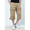 Men's Summer Basic Plain Flap Pocket Side Loose Casual Cropped Cargo Pants