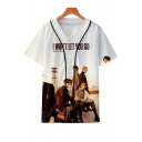 New Album I Won't Let You Go 3D Figure Print Button-Front Short Sleeve Baseball Shirt