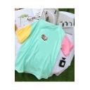 Cute Cartoon Sushi Print Colorblock Short Sleeve Casual Cotton T-Shirt
