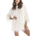 Chic Plain Tassel Embellished Round Neck Long Sleeve Pullover Sweater