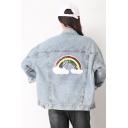 Sequined Rainbow Applique Button Front Lapel Collar Long Sleeve Denim Jacket