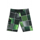 Fast Drying Plaid Printed Mens Swim Trunks Beachwear with Pockets
