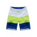 Classic Summer Colorblock Drawstring-Waist Beach Shorts Swim Trunks with Mesh Liner