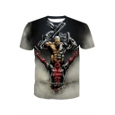 Funny 3D Film Figure Print Basic Round Neck Short Sleeve Summer T-Shirt