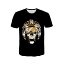 Star Wars Darth Vader Skull Printed Basic Short Sleeve Black T-Shirt