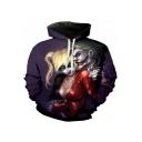 Classic Clown Character 3D Print Long Sleeve Sport Purple Hoodie