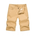 Men's Basic Simple Plain Fashion Washed Casual Cotton Shorts