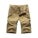 Men's Summer New Stylish Solid Color Cotton Casual Chino Shorts