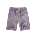 Summer New Trendy Simple Plain Drawstring Waist Mens Casual Relaxed Linen Beach Shorts