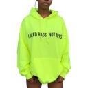 Letter I NEED BAGS NOT BOYS Pattern Long Sleeve Fluorescent Green Loose Longline Hoodie