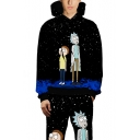 Rick and Morty Comic Character 3D Galaxy Printed Unisex Sport Black Hoodie