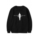 Popular Figure Letter Printed Basic Round Neck Long Sleeve Pullover Sweatshirt