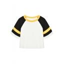 Cool Retro Colorblock Raglan Short Sleeve Cropped White T-Shirt