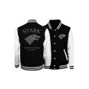 Game of Thrones Stark Wolf Printed Colorblock Rib Collar Long Sleeve Button Black Baseball Jacket