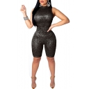 Womens Sequins Plain Mock Neck Sexy Sleeveless Slim Fit Rompers
