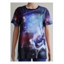 Unique Cool 3D Comic Galaxy Pattern Round Neck Short Sleeve Purple T-Shirt