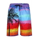Men's New Stylish Drawstring Waist Tropical Coconut Printed Loose Swim Trunks
