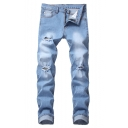 Mens Light Blue Solid Color Stretch Regular Fit Wear Ripped Jeans