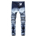 Fashion Vintage Bleach Washed Star Double-Zip Embellished Stretch Fit Blue and White Jeans for Men