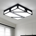 Modernism Geometric Pattern Flush Mount Acrylic LED Ceiling Fixture in Warm/White for Study Room