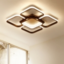 Modern Chic Super-thin Ceiling Lamp Metal LED Flush Mount Lighting in Coffee Brown for Living Room