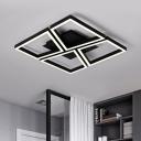 Energy Saving Geometric Square Room Lights Nordic Style Metallic LED Flush Mount in Black/White