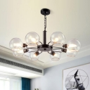 Open Glass Spherical Hanging Light Modernism 3/6/8 Lights Chandelier Lighting in Black for Restaurant