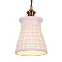 Single Light Bucket Hanging Ceiling Lamp with Blue/Gray/White Ceramic Shade Hallway Porch Pendant Light