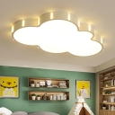 Nordic Style Cloud LED Flush Light Baby Kids Room Lighting Fixture with Acrylic Lampshade in White
