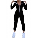 New Trendy Solid Color Hooded Long Sleeve Full Zip Slim Fit Jumpsuits