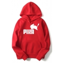 PIKA Simple Letter Printed Loose Casual Pullover Long Sleeve Hoodie
