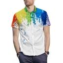 Summer New Stylish Splash Ink Print Guys Short Sleeve Casual White Shirt