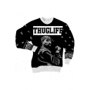 Popular American Rapper THUGLIFE Letter Long Sleeve Black Pullover Sweatshirt