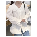 Girly Peter Pan Collar Button Down Bell Sleeves Plain Ruffle Hem Shirt